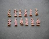 12 Miniature Plastic Doll Figures Vintage Cake Decor