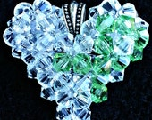 Lime Green Lyme Disease, Muscular Dystrophy, Lymphoma AWARENESS Swarovski Crystal Puffy Heart Pendant Necklace