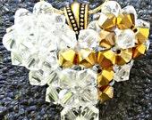 Childhood Cancer Awareness Gold Ribbon Swarovski Crystal Heart Pendant