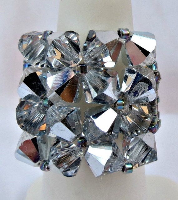 EXTRA LARGE Handcrafted Swarovski Crystal Comet Argent Gray Silver Cocktail Bling Ring CLEARANCE