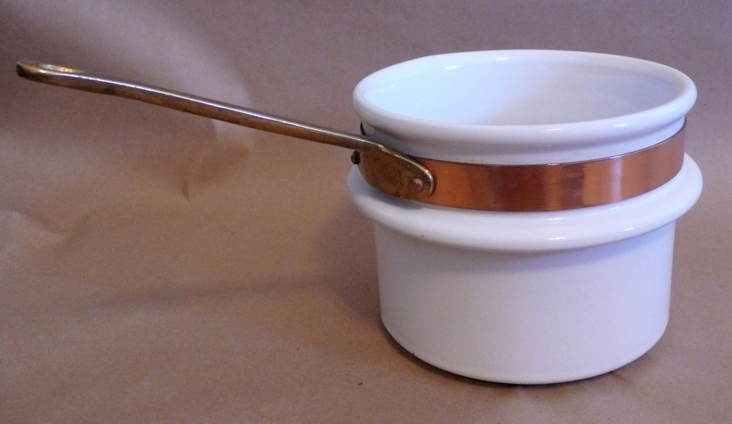 Vintage Ceramic Double Boiler Insert With Brass By Chriscre