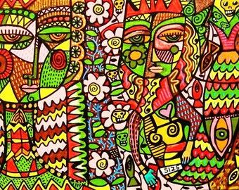 Tribal Angel & Skull Mermaid** - SILBERZWEIG ORIGINAL Art PRINT - Tribal, Wisdom, Spiritual, Mermaid, Day Of The Dead, Sea, Talavera, Fish