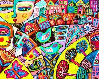 Memory Flower Garden**- SILBERZWEIG ORIGINAL Art PRINT-Folk, Journey, Tribal, Talavera, Spiritual, Guardian, Birds Of Paradise, Tree Of Life