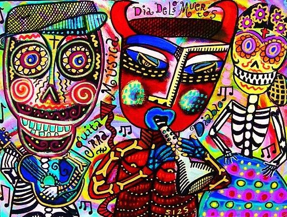 Dancing With Diablo**- SILBERZWEIG ORIGINAL Art PRINT - Day Of The Dead, Frida & Diego, Mexican, Skeleton, Sugar Skull, Guitar, Red Devil