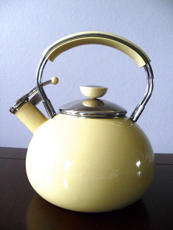 Mid Century Tea Kettle Retro Teapot Yellow Enamel Tea