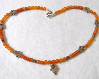 Carnelian, Peach Aventurine and Bali Silver Hamsa Necklace
