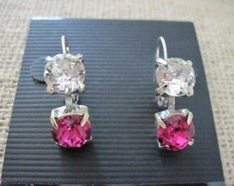 Fuchsia Swarovski Earrings/ Pink Crystal Earrings/Fuchsia Bridesmaid Earrings/ Wedding Jewelry/ Bridesmaid Gift/Bridesmaid Jewelry/Bridal