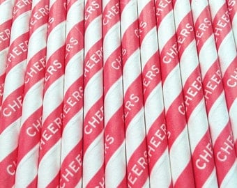 Red Striped CHEERS Paper Straws