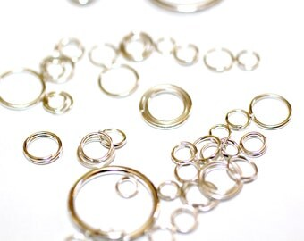 100 Silver Jump rings-mixed sizes- 4-30mm Basketball wives earrings