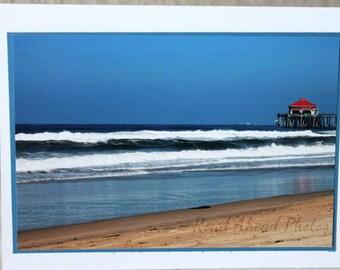 photo card, Huntington Beach, California, beach, ocean, sand, waves, pier