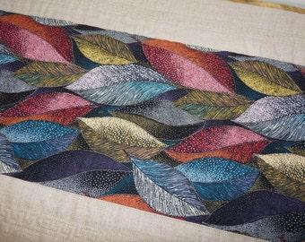 Multi-Colored Leaves Linen Reversible Table Runner