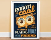 """Robots are Cool - Type Ad - Poster 24"""" x 36"""" Vintage Poster - Retro Art Print"""