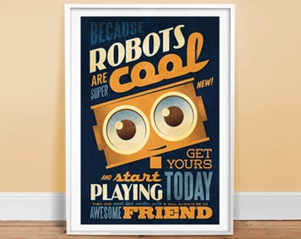 "Robots are Cool - Type Ad - Poster 24"" x 36"" Vintage Poster - Retro Art Print"