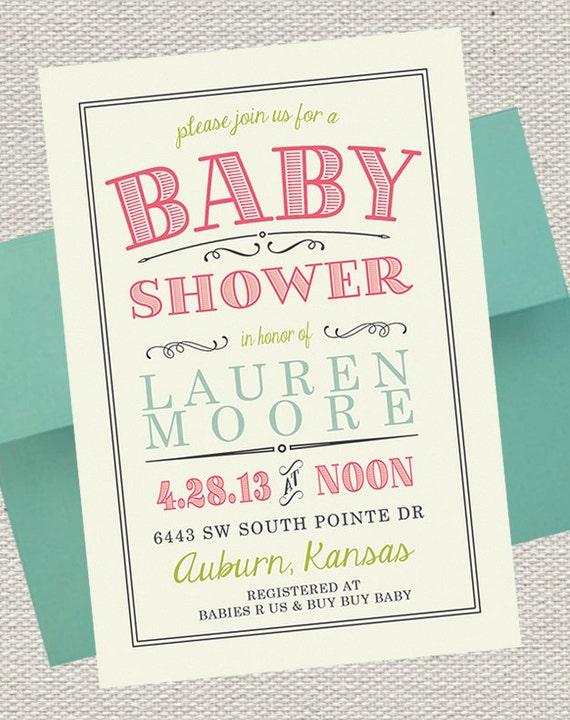 Vintage Scroll Baby Shower Invitation Pink Lime