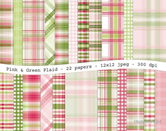 Pink and green plaid digital scrapbooking paper pack - 22 printable jpeg papers, 12x12, 300 dpi - instant download