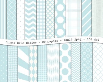 Light Blue Basics digital scrapbooking paper pack - 20 printable jpeg papers, 12x12, 300 dpi - instant download