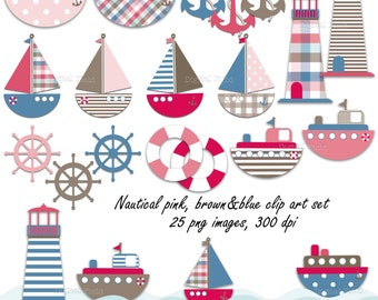Nautical Clip Art Set - 25 pink, blue&brown printable digital clipart images - instant download