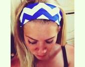Cobalt Blue // White Chevron - Fabric Headband