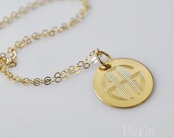 """engraved monogram 5/8"""" charm necklace 14 kt gold filled"""