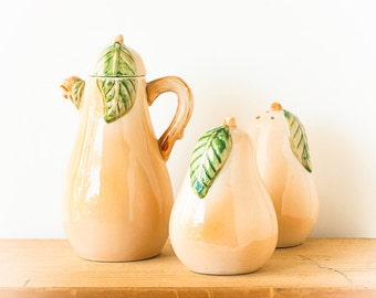 Vintage Salt and Pepper Shakers Ceramic Pears Condiment Set