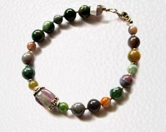Womens Fancy Jasper Beaded Bracelet 8 1/2 Inches