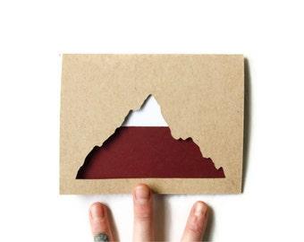 Laser Cut Card: MODERN MOUNTAIN TOP--custom color + message