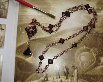 Art Deco Design Brass ,Copper, Gemstone Necklace 23inch