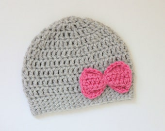 Baby Girl Crochet Hat, Baby Girl Bow Hat, Toddler Hat, Gray and Pink Hat
