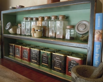 Spice Rack-Large Free Standing Spice Rack in Black Green