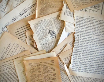 25 vintage Greek, French, German book pages, ephemera pack for your altered art, junk journals, scrapbooking, mixed media, jewelry