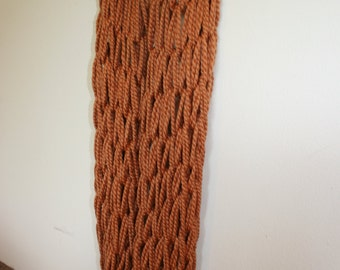 Chunky Fall Orange Extra-Long Knitted Infinity Scarf