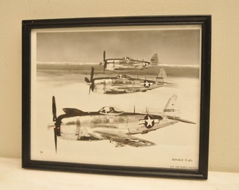 1960s Official US Air Force Print REPUBLIC P-47 Airplane Photo Print Number 34