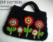 Crochet bag pattern, Crochet bag with applique flowers, Pattern No. 17