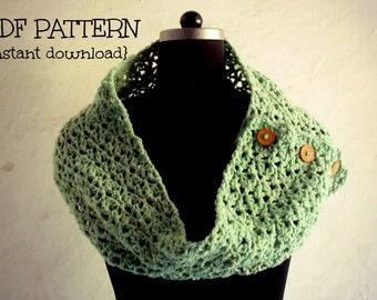 Crochet pattern, crochet neckwarmer cowl pattern, crochet scarf pattern, cowl with button, Honeydew button up scarf, Pattern No. 32