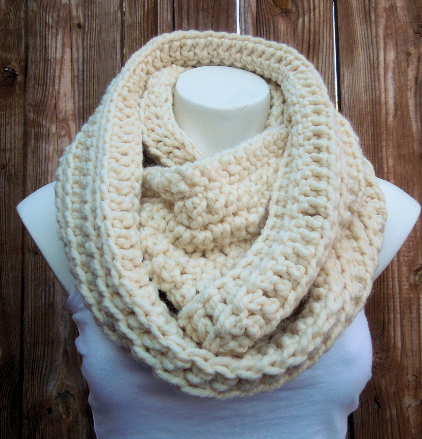 Infinity Scarf Chunky Creme Infinity Scarf Oversized Knit