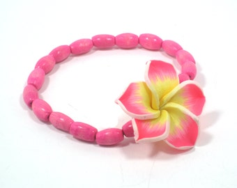 Pink Poly Clay Flower Stretch Bracelet, Pink Floral Bracelet, Summer Bracelet, Tropical Flower Bracelet