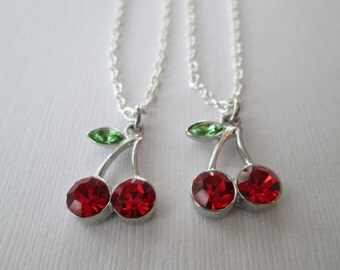 2 Crystal Cherry, Best Friends Necklaces