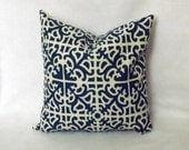 Decorative Throw Pillow - Parterre Blue - 16 x 16 inch - BOTH SIDES - Toss Pillow - Throw Pillow - Accent Pillow