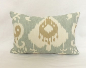 Ikat Decorative Lumbar Pillow Cover - 12 x 18 - Java Spa - Zipper Closure - Throw Pillow - Accent Pillow