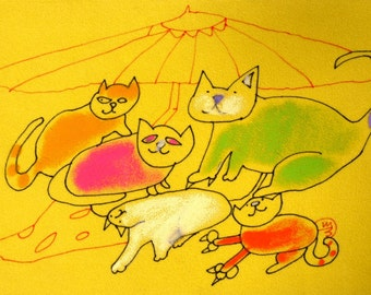 COLORFUL CAT PAINTING - Abstract Oil Pastel Painting - Textured Yellow Art - Original Ink Drawing - Animal Illustration