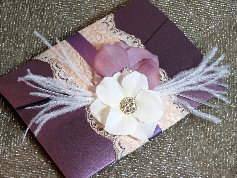 Vintage Glam Wedding Invitations: VINTAGE GLAMOUR: Lace Wedding Invitation Plum Wedding