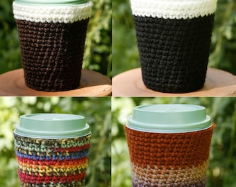 Crocheted cup cozy to keep your takeaway drink hot and your hands cool