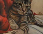 "Custom Pet Portrait - Tabby Cat Painting - 20"" X 24"""