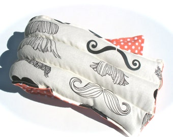 Mustache Heating Pad, Natural Microwavable Heating Pad, Flax Seed Heating Pad, Stache