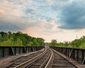 SALE Richmond Railroad Bridge Downtown, Train Track Photo, Richmond Virginia Landscape Photo Art, Framed Photography Option