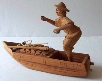 The Fisherman - Hand Carved Asian Man in Row Boat with Fishing Gear - Vintage Home Global - World - Ethnic - Cultural - Oriental - Decor
