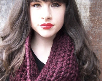READY TO SHIP Burgundy large chunky crochet cowl neck warmer handmade infinity eternity loop circle fall scarf women claret raisin maroon