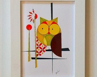 Original Modern Owl Painting, Mid Century Modern, 5x7 print, PERCHED OWL, Bold Minimalist Design, Modern Home Decor