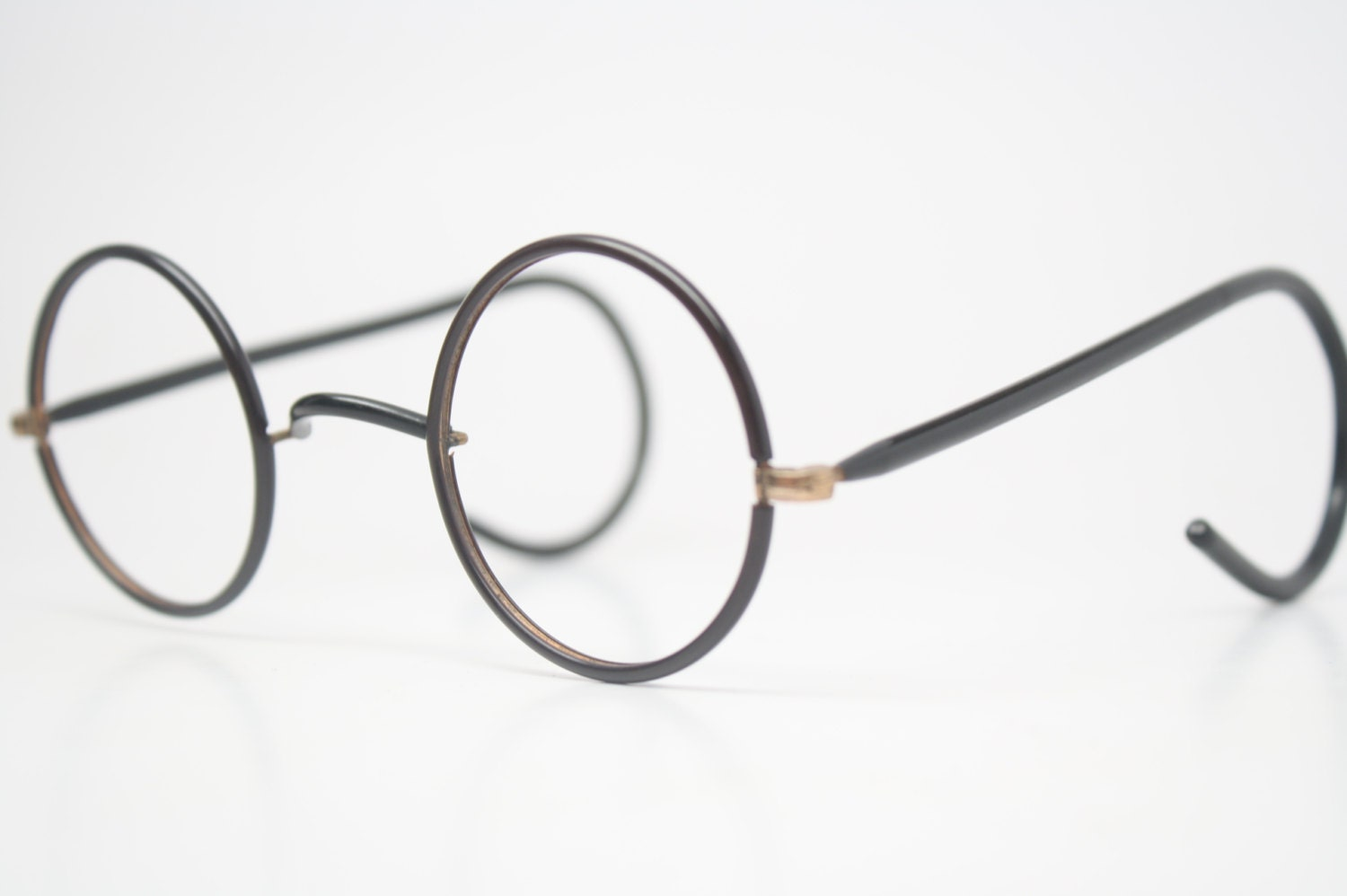 Old Glasses Frames New Lenses : Antique Eyeglasses Black & Gold Zyl Windsor Glasses New Old