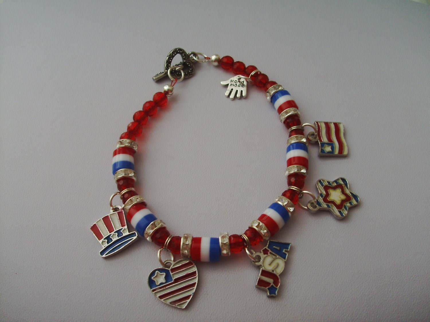 Ladies plus size charm bracelet red white blue bracelet for Plus size jewelry bracelets
